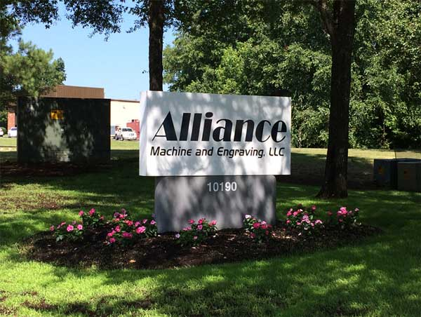 Alliance Machine and Engraving sign